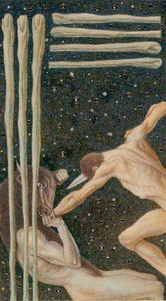 7 of Wands: Golden Tarot of Klimt (artwork not by him) https://mycuriouscabinet.wordpress.com/2012/03/03/favourite-decks-part-iii/