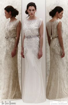 Beautiful boatneck on this silk chiffon beaded column gown. Ribbon sash belt and lovely hint of an open back. Esme gown by Jenny Packham. - Esme || Jenny Packham 2013