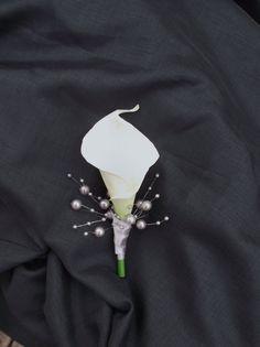 Wedding boutonniere ivory calla lily boutonniere by UptownGirlzz