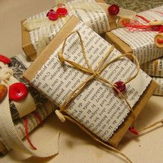 Use a kraft box or wrap gift in kraft paper; wrap with a mand of newspaper, magazines, maps or other materials; and secure with twine or ribbon. Embellish with pretty buttons.