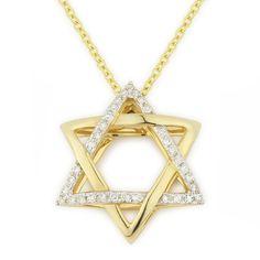 0.11ct Round Cut Diamond Star of David Pendant in 14k Yellow Gold - AM-DP5438 - AlfredAndVincent.com