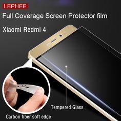 Lephee xiaomi redmi 4 pro prime 9 h härte gehärtetem glas film + 3D kohlefaser weicher kante Hafenpersenning Sceen mit einzelhandel paket