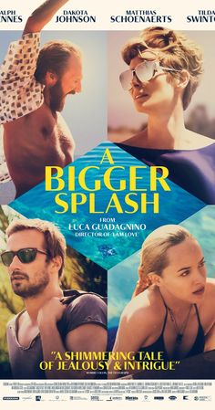 A Bigger Splash Directed by Luca Guadagnino. With Dakota Johnson, Matthias Schoenaerts, Ralph Fiennes, Tilda Swinton. The vacation of a famous rock star and a filmmaker is disrupted by the unexpected visit of an old friend and his daughter. 2015 Movies, Hd Movies, Movies To Watch, Movies Online, Movie Tv, Movies Free, Tv Watch, Film Watch, Movie Blog