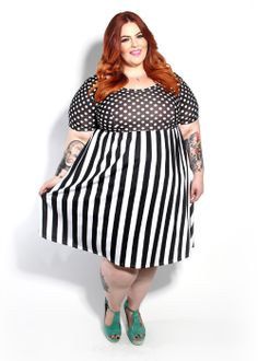 Domino Dollhouse - Plus Size Clothing: Short Sleeve Babydoll Dress in Dots + Stripes