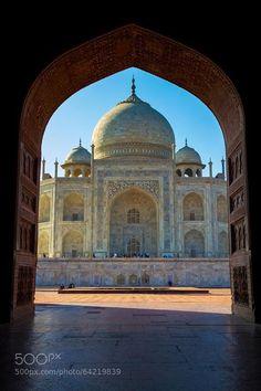 Taj Mahal framed in arch Agra India