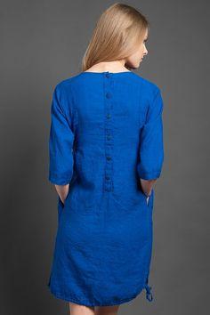 Linen dress blue linen dress womans blue dress by HomeOfNature