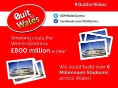 Smoking costs the Welsh economy £800 million a year. We could build over 6 Millennium stadiums across Wales! #quitforwales #smoking #quitsmoking #health #Wales #pledge #Christmas #infographic