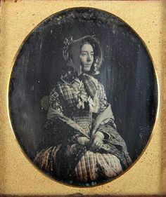 "1846 Mrs. W.W. Montgomery. If I do a pickpocket impression, I'm going to base it on this photo. Mayhew describes one female pickpocket as ""She was very goodlooking, about twenty-four years of age, dressed in a green coloured gown, Paisley shawl, and straw bonnet trimmed with red velvet and red flowers."""