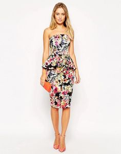 ASOS | ASOS Dark Floral Bandeau Dress With Peplum at ASOS