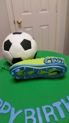 Amy's Crazy Cakes - Fondant Soccer Ball and Nike Cleat Cake Topper