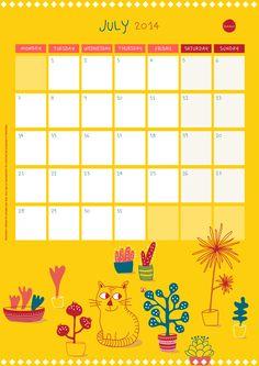 Calendar of July - free printable