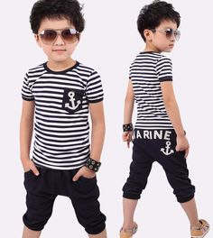 Free shipping New 2015 summer clothing sets kids pants + Top boys girls Navy Stripe kids clothes children tracksuit