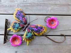 Plant Hanger Metal Butterfly Flowers Multi-Colored  Hook 15x9 in.includes screws #Unbranded