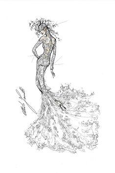 Alberta Ferretti Sketch for Lady Gaga