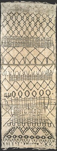 Carpet gallery with focus on vintage Moroccan Berber rugs such as Beni Ouarain / Ourain, Azilal, Ourika, boucherouite / boucharouette rugs. Berber Carpet, Berber Rug, Textile Fiber Art, Textile Prints, Beni Rugs, Carpet Trends, Carpet Ideas, African Interior, African Textiles