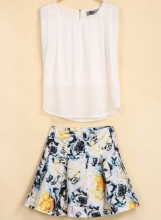 White Round Neck Sleeveless Top With Floral Skirt - Sheinside.com