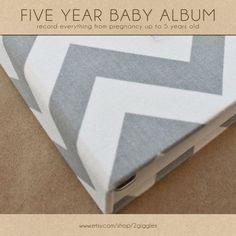 Baby Book (Pregnancy - 5 years) - Grey and White Chevron  (134 designed journaling pages & personalization with every album)