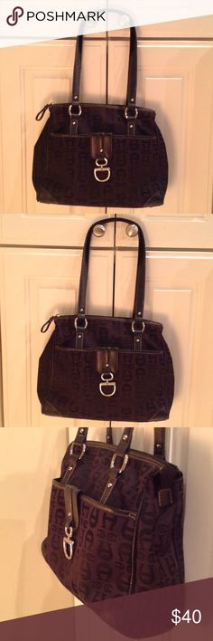 Etienne Aigner Black Signature Bag Classic durable fabric bag that offers inside out outside storage. This timeless bag is always in style and in very good condition Etienne Aigner Bags Shoulder Bags