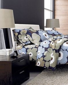 Marimekko Unikko Dusk bed sheets and duvet cover Find Furniture, Furniture Decor, Bedroom Furniture, Black Floor Lamp, Marimekko, Linen Bedding, Bed Linens, Beautiful Bedrooms, Crate And Barrel