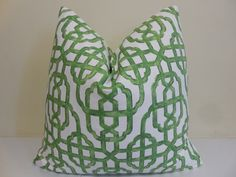 Lacefield Jade/ Green Pillow Cover - Imperial Jade -  Jade Cushion- Lacefield Green Cushion- 18 x 18, 20 x 20, 22 x 22, 24 x 24, 26 x 26 by ZourraDesigns on Etsy https://www.etsy.com/listing/236661700/lacefield-jade-green-pillow-cover