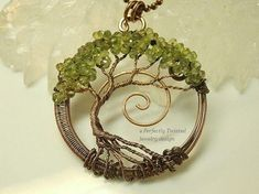 MADE TO ORDER Wire Wrapped Tree of Life Bonsai Pendant, Peridot Gemstones, Handmade Jewelry, Antiqued Copper, Wire Tree Jewelry, August Birthstone, Perfectly Twisted Jewelry