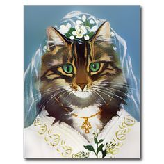 Vintage Wedding Cat Postcard