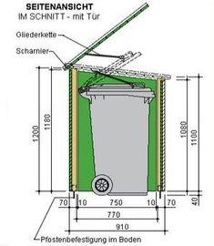Mülltonnenhaus Rückwände schneiden Garbage Can Shed, Garbage Can Storage, Storage Shed Plans, Storage Bins, Bin Shed, Outdoor Trash Cans, Garden Shed Diy, Bin Store, Shed Homes