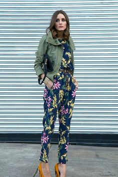 Floral jumpsuits with mustard yellow heels!!
