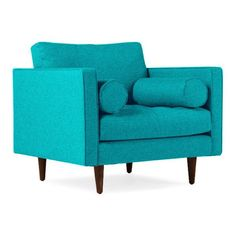 Joybird Briar Mid Century Modern Blue Chair ($599) ❤ liked on Polyvore featuring home, furniture, chairs, accent chairs, home furniture, blue, midcentury chair, joybird furniture, mid century style furniture and blue furniture