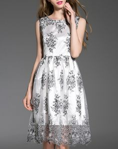 #AdoreWe #VIPme Skater Dresses - LANJIAN Printed Sleeveless Elegant Midi Dress - AdoreWe.com