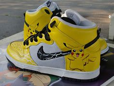 Check out these hand-painted Pokemon Pikachu Custom Nike Dunk Sneakers by Sole of LA Moda Sneakers, Shoes Sneakers, Yellow Sneakers, Roshe Shoes, Nike Roshe, Custom Sneakers, Custom Shoes, Crazy Shoes, Me Too Shoes
