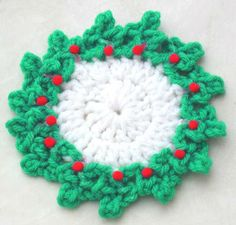 Free Crochet Pattern Holly Coaster