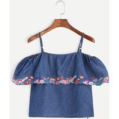 Dark Blue Cold Shoulder Embroidered Denim Top (200.385 IDR) ❤ liked on Polyvore featuring tops, blue, denim top, collar top, embroidered top, blue short sleeve top and cold shoulder tops