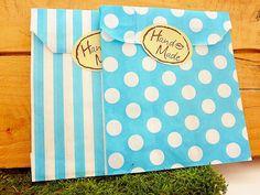 50 Papiertüten  Streifen / Punkte  türkis +Sticker von SackundPack auf DaWanda.com