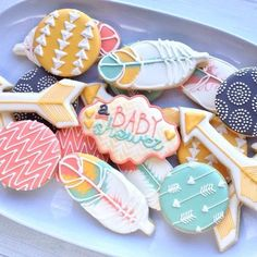 These boho chic inspired baby shower cookies are so cool!