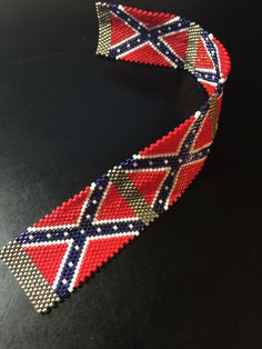 Confederate Flag Bracelet Pattern made by Beads By Desire. Pattern is available for sale