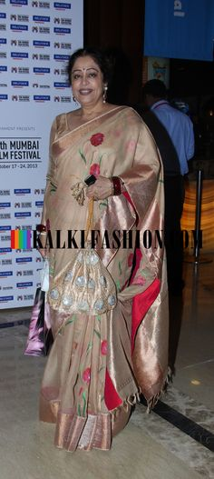 http://www.kalkifashion.com/    Kirron Kher in beige saree at 15th Mumbai Film Festival