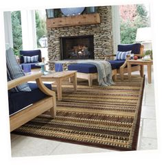 """HGTV Home's line-up of lovely area rug options includes eco-friendly choices - Area Rug in style """"Juneau"""" - HGTV HOME Flooring by Shaw Rustic Fireplaces, Outdoor Spaces, Outdoor Decor, Floor Decor, Hgtv, Home Interior Design, Family Room, Area Rugs, Decor Ideas"""