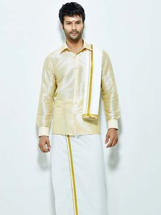Superior cream color raw silk shirt comes with white color cotton dhoti and angavastram. Item Code : SCU12002-3 http://www.bharatplaza.com/new-arrivals/south-indian-mens-wear.html