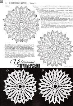 Crocheted motif no. Crochet Doily Diagram, Crochet Doily Patterns, Thread Crochet, Crochet Motif, Crochet Designs, Crochet Doilies, Crochet Flowers, Crochet Lace, Crochet Circles