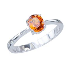 Graceful Womens Orange Natural Sapphire Gemstone .72ct 14K White Gold Wedding Engagement Promise Jewelry Ring *** Hurry! Check out this great product : Promise Rings Jewelry