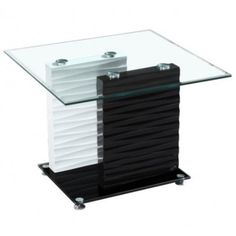Bon Modern Black And White Glass Rectangular End Table Sevilla
