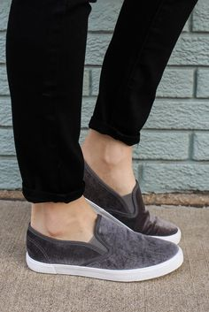 Velvet Slip On Rubber Sole Sneakers Ryian-01 – UOIOnline.com: Women's Clothing Boutique