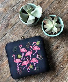 Your place to buy and sell all things handmade Retro Fabric, Perfect Little Black Dress, Pink Flamingos, Black Backgrounds, Fabric Design, Sunglasses Case, Birthday Gifts, Eid Gift, Purses