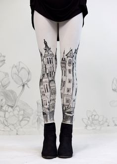 Victorian City Leggings by Carousel Ink - IVORY