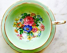Mint Green Pink Rose Bouquet Paragon Queen Mary Double Warrant Tea Cup and Saucer