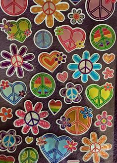 ☮ American Hippie Art ☮ Pattern Background .. Love Peace ☮ and Flower Power