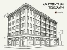 This is an animation of a drawing of an apartment building on Telegraph Avenue in Berkeley, California. The animation is based on layers in the Arrette file, so you may notice that the shading, which is on a different layer, shows up before the features of the drawing which it relates to.