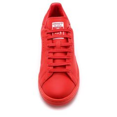 Adidas by Raf Simons Stan Smith Sneakers ($240) ❤ liked on Polyvore featuring shoes, sneakers, adidas, rubber sole shoes, leather lace up sneakers, adidas trainers, perforated leather shoes and leather lace up shoes