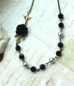 A Black Rose Flower Flying Bird Faceted Black Platinum by Marolsha, $27.00